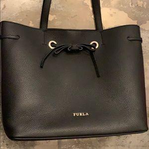 Furla Black Leather Bucket Bag